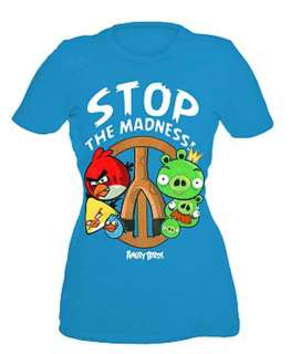 Angry Birds Stop The Madness Peace Sign Blue T Shirt Licensed NWT