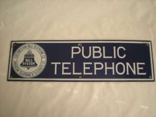 SOUTHWESTERN BELL TELEPHONE CO. Porcelain Public Telephone Sign
