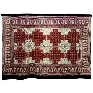 Red, Tan and Black Geometric Floral Tapestry Wall Hanging