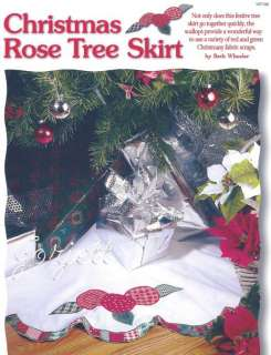 Christmas Rose Tree Skirt & Stocking quilt sewing patterns & templates