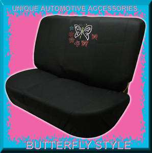 2PC BUTTERFLY AND STARS UNIVERSAL FIT BENCH SEAT COVER