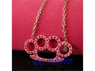 HOT Pansy Crystal+Pink Brass Pendant Necklace S11