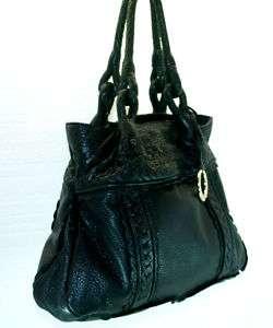 Elliott Lucca Medium Black Leather Shoulder Bag