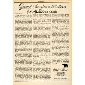 Gourmet Cuisine J Jacobs Culinary Art Restaurant   Original Print Ad