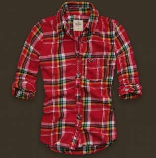 NWT Hollister Women Arch Bay Flannel Plaid Shirt TOP
