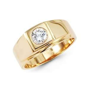 14k Yellow Gold Wedding Ring Engagement Band CZ Cubic Zirconia Pinky
