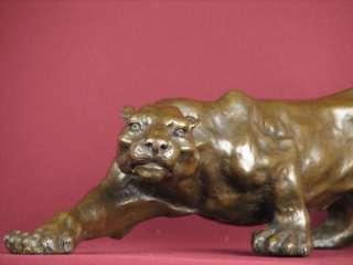 SIGNED BRONZE SCULPTURE COUGAR MODERN ART CAT STATUE