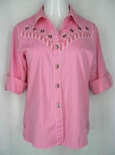 Bob Mackie Wearable Art M Fun Ladybug Button Up Pink Shirt Roll Up