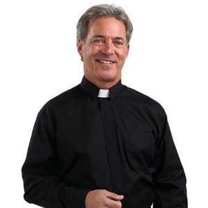 Mens Tab Collar Clergy Shirt Black 15 15 1/2
