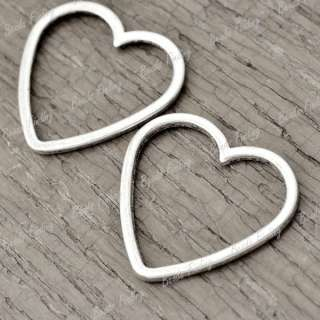 50pcs Wholesale New Tibetan Antique Silver Flat Hearts Love Charms