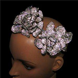 Bridal 2 Flower Rose Head Hair Band Austrian Rhinestone Crystal