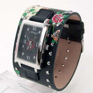 New Authentic Ed Hardy Womens Temptress Black Rose Watch w/Gift Box
