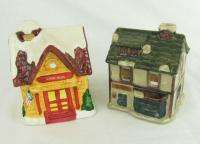 Set 2 Ceramic Christmas Village Tea Light Candle Houses