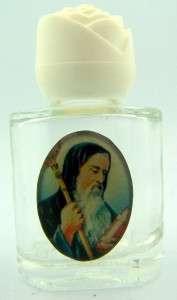 ST Benidict Saint Holy Water Bottle Rose White Cap