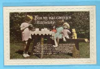 Old Photo Postcard Girl with 2 DOLLs + PLUSH * TEASET