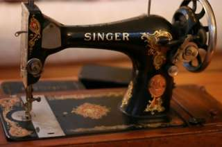 Antique Singer Sewing Machine with oak carrying case