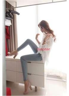 Korean Women Crew Neck Chiffon Tunic Tops Shirt Casual Blouse Puff