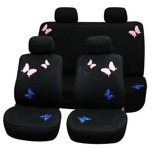 Universal Car Seat Cover black & butterfly embroidery