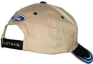 Ford Mustang Pony Logo 3 Bar Hat Cap Tan/Black OSFM NWT