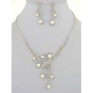 Fashion Jewelry ~ Faux Pearls Accented with Clear Crystals