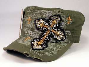 Olive Cadet Castro Cap Black Cross Military Army Hat Distressed Visor
