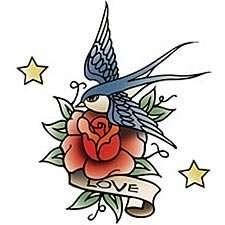 Love Tattoo T shirt, Classic Bird and Rose Tattoo Design T
