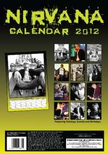 NIRVANA KURT COBAIN 2012 UK WALL CALENDAR BRAND NEW AND FACTORY SEALED