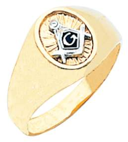 White or Yellow Gold Freemason Masonic Blue Lodge Mason Ring