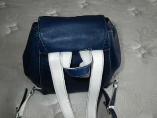 COACH LEGACY NAVY BLUE WHITE LEATHER TRIM BUCKLE BACKPACK PURSE BAG