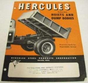 Hercules 1961 Dump Truck Hoists, Bodies Sales Brochure