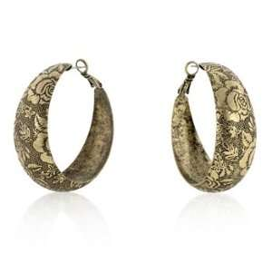 14kt Gold Plated Earrings with Black Matte Finish, Roses and Leaves