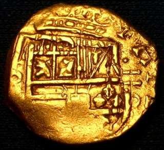 1621   1665 NUEVO REINO DE BOGOTA SPANISH GOLD 2 ESCUDOS COB DOUBLOON
