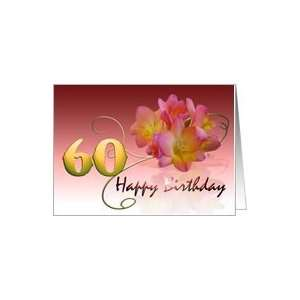 Happy 60th Birthday Oleander Flower curly coil pink flower