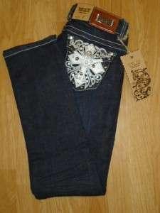 WAY CO booty jeans LEATHER CROSS skinny RHINESTONES 33 bling 13 ~like
