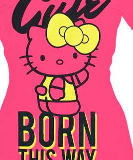 HELLO KITTY~ PINK CUTE BORN THIS WAY YELLOW BOW SHIRT