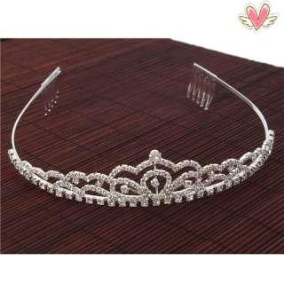 Wave Style Rhinestone Crown Headband Tiara Wedding Headband