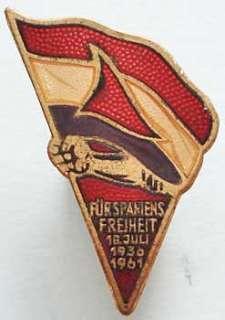 Germany DDR Spain pin Spanish Civil War Inter Brigade