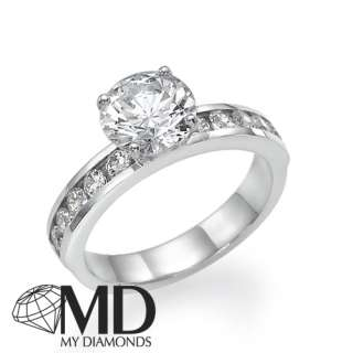 05 CT F/SI DIAMOND ENGAGEMENT RING NATURAL ROUND CUT 14K WHITE GOLD