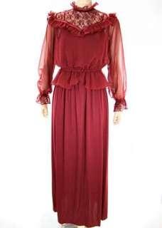 VTG 70s Jersey Maxi Dress w VICTORIAN Chiffon Lace Blouse Dress Outfit