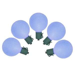 Set of 10 Battery Operated Sugared Blue LED G50 Christmas