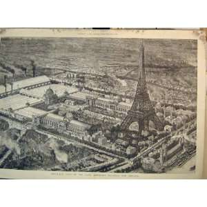 Birds Eye View Paris Exhibition Buildings Eiffel Tower