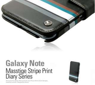 Galaxy Note Leather Case N7000 MASSTIGE STRIPE PRINT DIARY TYPE