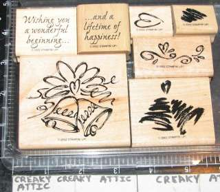 STAMPIN UP A LIFETIME OF HAPPINESS 7 RUBBER STAMPS WEDDING