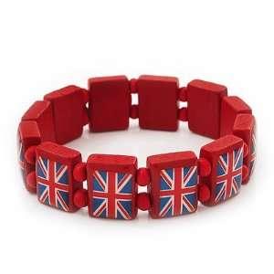 UK British Flag Union Jack Red Stretch Wooden Bracelet   up to 20cm
