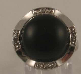 Estate Black Onyx Diamond 14k White Gold Cocktail Ring