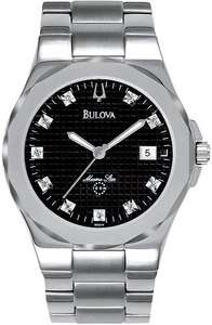 NEW BULOVA MARINE STAR DIAMOND STAINLESS STEEL BLACK DIAL MENS WATCH