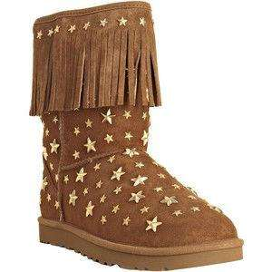 JIMMY CHOO UGG Brown FRING boots suede STAR light STUDS starlight