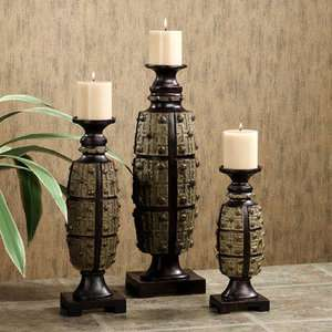 Exotic Tropical Safari Decor Candleholder Set of 3