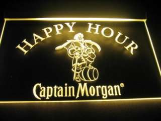 Happy Hour Captain Morgan Beer Bar Light Sign Neon B506