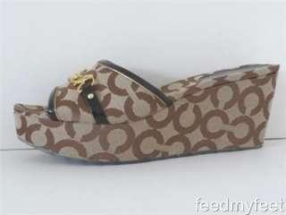 Coach Carissa Brown Khaki Signature Op Art Gold Sandals Wedges Shoes